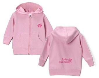 Surfer girls rule  pink Zip up hoody sweatshirt