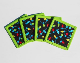 Christmas Lights Quilted Coasters Green Trim