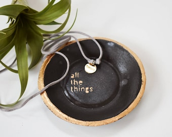 All The Things | Black and Gold Ring Dish | Cement Ring Dish | Ring Storage | Catch All Dish | Minimal | Charcoal | Incense | Plate | Gift