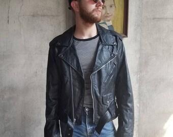 Vintage 1980s 80s motercyle biker black leather biker jacket Men's small 38 zippers deadstock like new