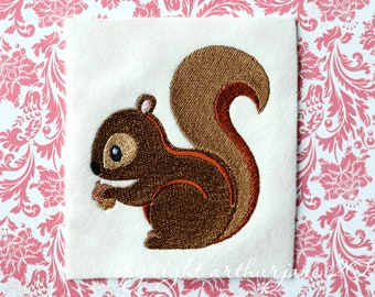 Squirrel Embroidery Design, INSTANT DIGITAL DOWNLOAD, Woodland Animals for Machine Embroidery 4x4