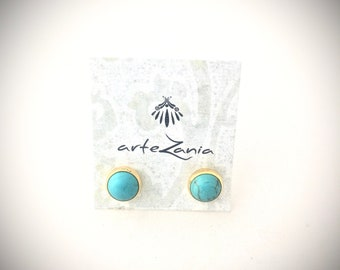 Earrings with turquoise stone , gold-plate.