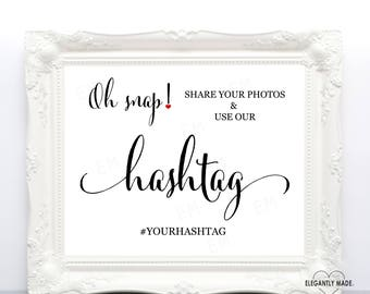 Hashtag Wedding Sign - Wedding Hashtag Sign - Wedding Instagram Sign - Wedding Signs - BLACK10X8HWS3