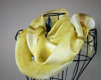 Hand Painted Silk Scarf in Bronze and Gold