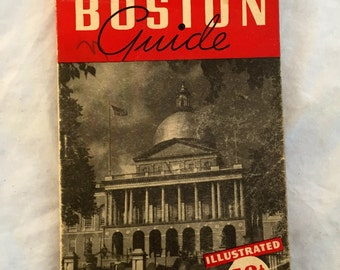 1949 Rand Mcnally Boston Guide, 1940s Vintage Illustrated Guide To Boston