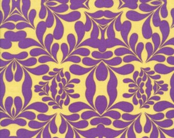 Free Spirit Fabric, Morning Tides by Mark Cesarik for Free Spirit, MC13 Diamond Leaves Damask in Purple