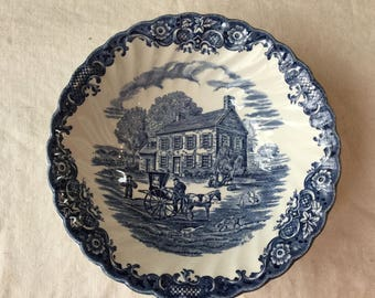 Vintage Heritage Hall / Blue Ironstone Transferware Cereal Bowl / Staffordshire England / Johnson Brothers / Georgian Townhouse