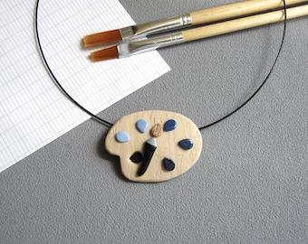 Pendentif palette de peintre et taches bleues en pâte polymère fimo, imitation bois, idée cadeau maîtresse, pendentif palette peinture bleue