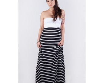 Organic Cotton Strapless Maxi Stripe Multi-Way Dress // Made in USA