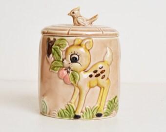Vintage 60s Bambi Fawn KAWAII Cookie Biscuit Jar
