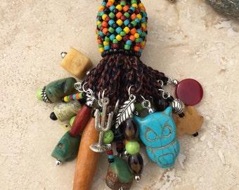 Light Fan Ball Chain Pull - Beaded Tassel - Southwest Owl