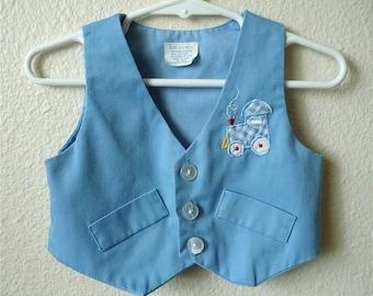 Vintage Baby Boy's 70's Sleeveless Vest, Light Blue, Train (6-9 mos)