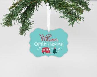 Country Christmas, Christmas Ornament, Trailer Ornament, Rustic Ornament, Family Ornament, Personalized Gift, 2017 Ornament --24192-OR67-600