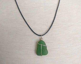 Kelly Green Sea Glass Necklace/Pendant/Sterling Wire Wrapped Leather/Jewelry/Sea Swag/Urban Boho/Maine