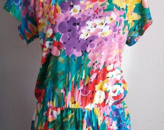 Vintage NU THREADS of California JUMPER Rainbow of colors floral design Dress Elastic Waist Zipper 50/50 Poly/Cotton Blend