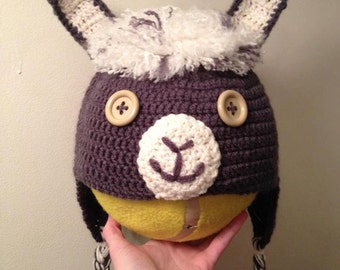 Crochet Llama Hat with Earflaps for Adult