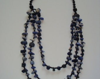 Sodalite Beaded 3 Strand Necklace