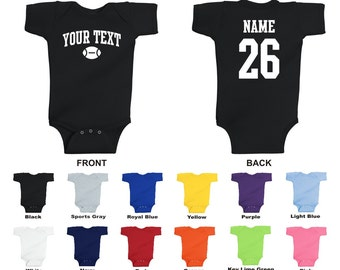 Personalized custom your text and number football baby one piece romper, you choose the text for the front and back, ARCHED TEXT