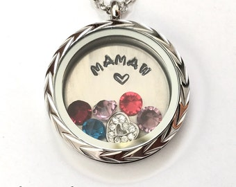 MAMAW - Floating Charm Locket - Memory Locket - Custom Hand Stamped Gift for Mamaw