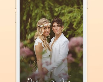 Mrs. and Mrs. Wedding Snapchat Geofilter, Gay Wedding Decor, Hers and Hers, LGBTQ, Modern Calligraphy, Customized Filter, Personalized