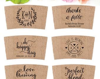 Coffee Wedding Favor - Wedding Coffee Sleeve Stamp - Coffee Cup Sleeve Stamp - Bridal Shower Custom Coffee Favor - To Go Coffee Cup Stamp