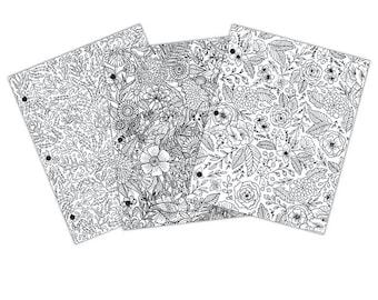 Coloring Folder - Floral Design - School Folder - Coloring Folder - Floral Coloring Folder - Color Your Own Folder - Coloring Book - 2-035