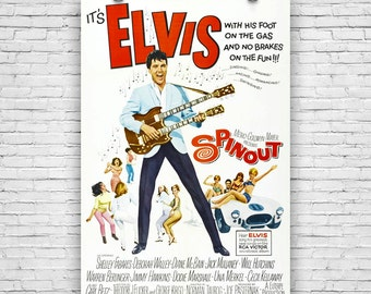 "Spinout, Elvis Presley, Shelley Fabares, 1966 American musical film, Vintage Movie Print Poster - 12""x18"""