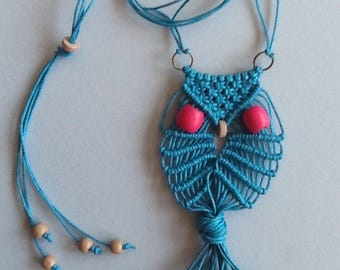 Macrame Owl Necklace Waxed Cotton Teal 1 - Adore the Cloth