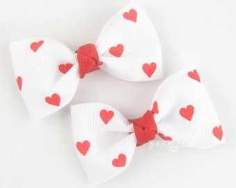 Heart hair bows, red hair bows, cute hair bows, hearts, hair clips, pigtail hair bows, baby clips, cute hair clips, girls hair bows, pinched
