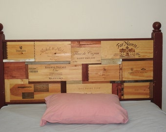 Recycled Queen Headboard -- Winecrate & Natural Wood Design
