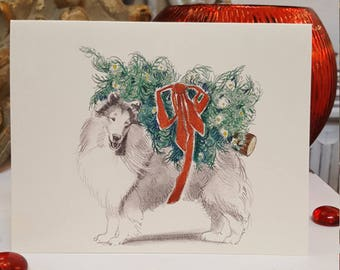 Boxed Rough Collie Holiday Cards