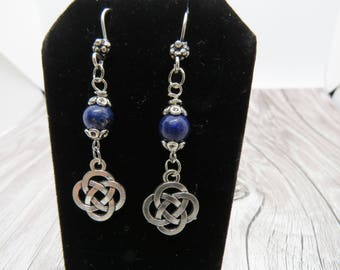 Silver and Lapis Lazuli Celtic Knot Earrings