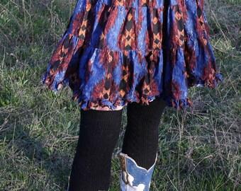 Ikat Aztec Ruffle Skirt Small Ozark Mountain Jean Company 1994 100% Cotton