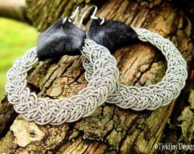 Swedish Sami Earrings, VIMUR Viking Jewelry Earrings, Custom Handmade Pewter Filigree Braids with Reindeer Leather or Lambskin