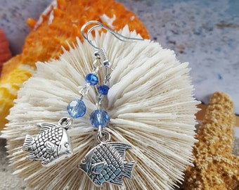 Silver plated Reef fish with blue crystals on dangle earrings