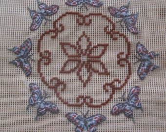 """Vintage pre-worked needlepoint. 18""""x18"""" Butterflies, main colors – browns, grays."""
