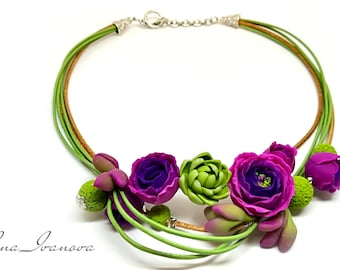 Necklace Jewelry Polymer clay Necklace Rose  Succulent Handmade Jewelry Romantic Necklace