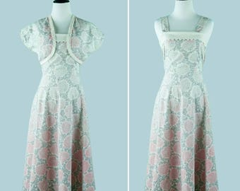 1950s Floral Day Dress With Matching Bolero - 1950s Sun Dress With Pink Swirl Print - Scalloped Neckline - Attached Sash