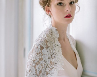 French lace bridal bolero cover up size 10 approx