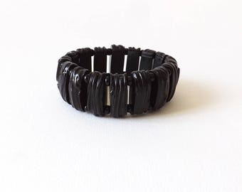 This bracelet black textured polymer, handmade jewelry