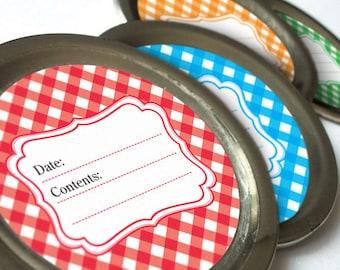 Gingham canning jar labels, round stickers for fruit and vegetable preservation, jam jelly jar labels, regular or wide mouth jar labels