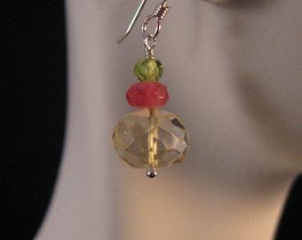 Gemstone drop earrings, gemstone earrings, citrine earrings, peridot earrings, dangle earrings, drop earrings, gemstone jewelry, earrings