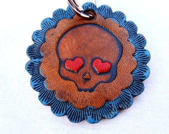 Day of the Dead Embossed Leather Keychain