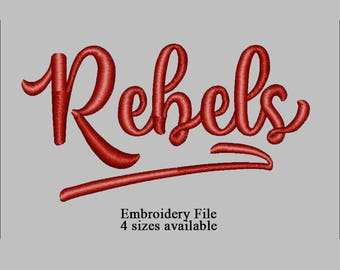 Embroidery file filled design Rebels text 4 sizes