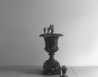 Cast Iron Urn with Plynth
