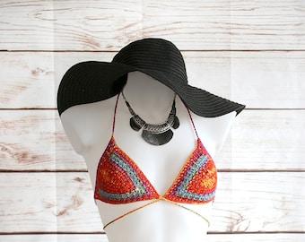 Hippie crochet bikini, Bohemian clothing, Crochet bra, Crochet bikini, Boho, Hippie, Gipsy, Tribal, Ethnic, Sexy summer top