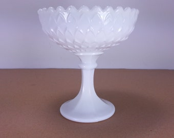 Milk Glass Pedastal Candy Dish in Diamond Pattern Stemmed Candy Dish Pedestal Compote