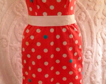 Vintage Posh by Jay Anderson Retro 1960's Pink Mod Pin Up Sleeveless Shift Wiggle Dress with Polka Dots