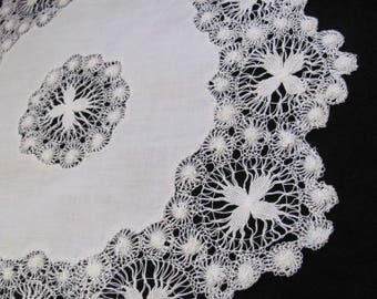 "Tenerife Lace Doily Handmade Vintage Linen Crocheted Doily 15"" Inch Round (#49)"