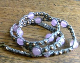 purple and bronze on gray hemp multi-wrap bracelet
